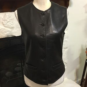VINTAGE BANANA REPUBLIC BLACK LEATHER VEST SIZE 6